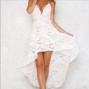White Midi Lace Dress Floral Spaghetti Strap